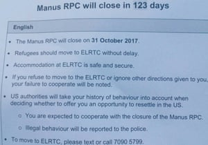 A document posted at the Manus Island detention centre