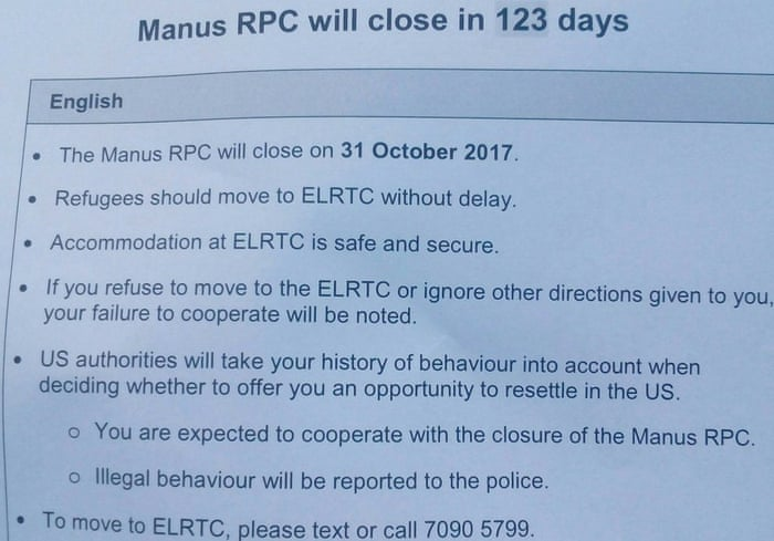 Manus refugees told to leave detention centre or jeopardise