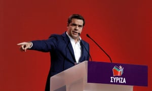 Greek prime minister Alexis Tsipras at the Syriza party congress in Athens, 13 October.