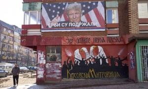 A poster of Donald Trump in North Mitrovica.