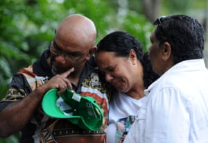 Clarice Greenup (centre), aunt of Evelyn Greenup, one of the victims of the Bowraville murders, is comforted by Raymond Robinson (left) and Marg Campbell in 2013 on a march to NSW Parliament House.