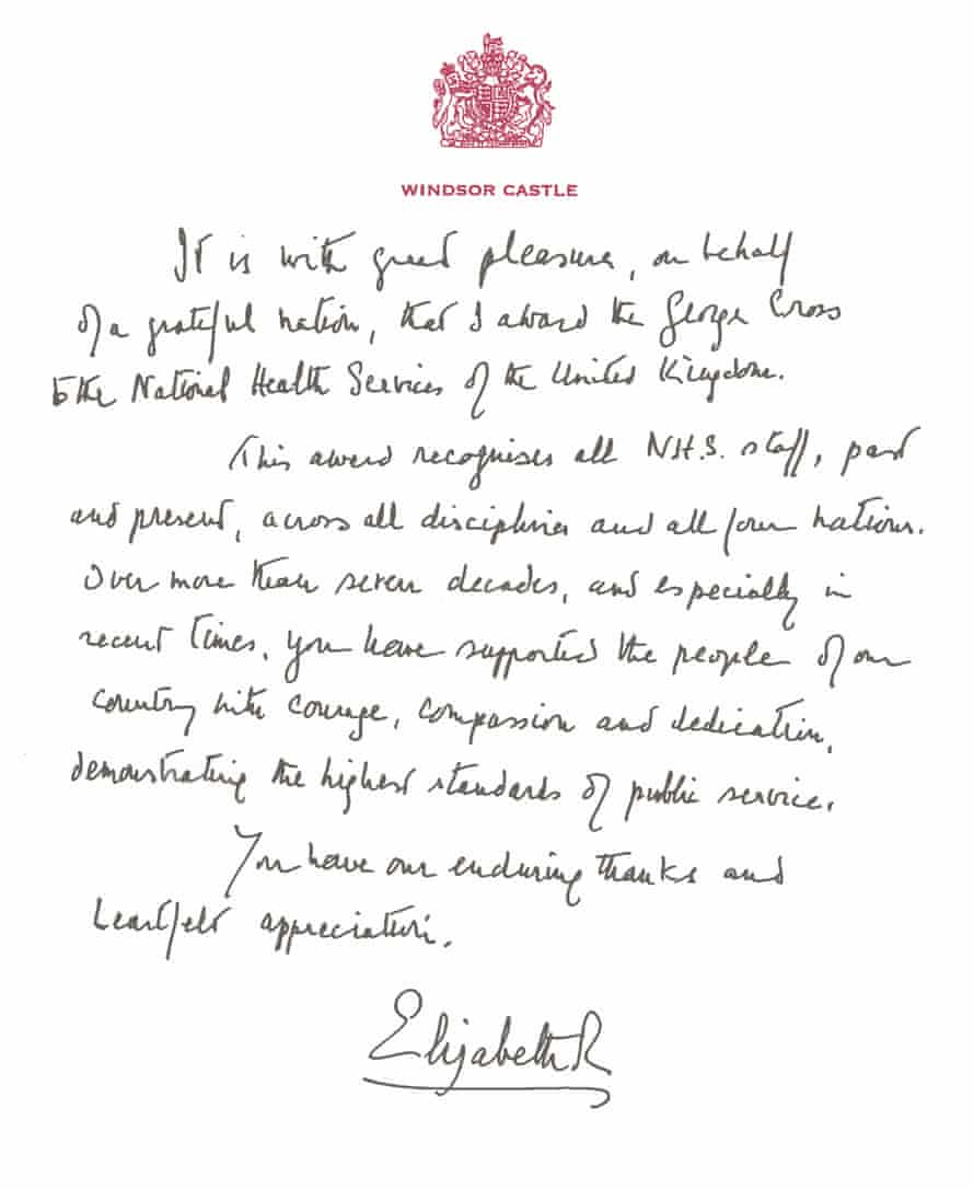 The handwritten letter from the Queen awarding the George Cross to the NHS