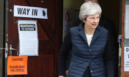 Theresa May outside polling station