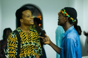 Writer Moshood Balogun and rapper Khalfani at ACCRA[dot]ALT's Talking Party Series at Brazil House, Jamestown, Ghana. Photo credit - Abass Ismail