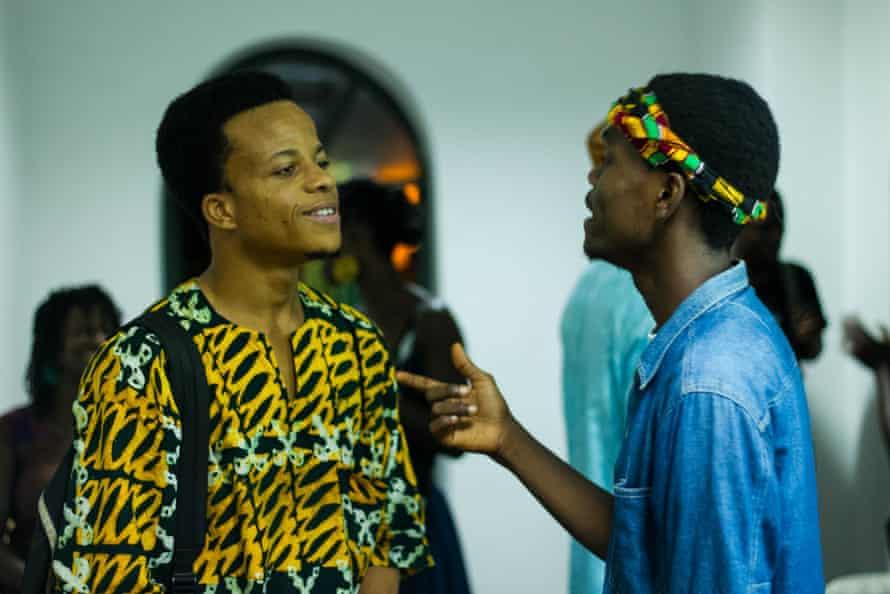 Writer Moshood Balogun and rapper Khalfani at ACCRA[dot]ALT's Talking Party Series at Brazil House, Jamestown, Ghana. Photo credit - Abass Ismail
