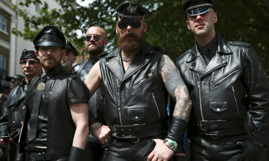 Leathermen taking part in the annual Pride London Parade in 2016
