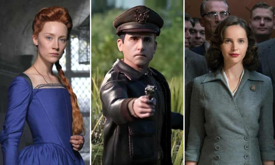 Saoirse Ronan in Mary Queen Of Scots, Steve Carell in Welcome to Marwen and Felicity Jones in On the Basis of Sex.