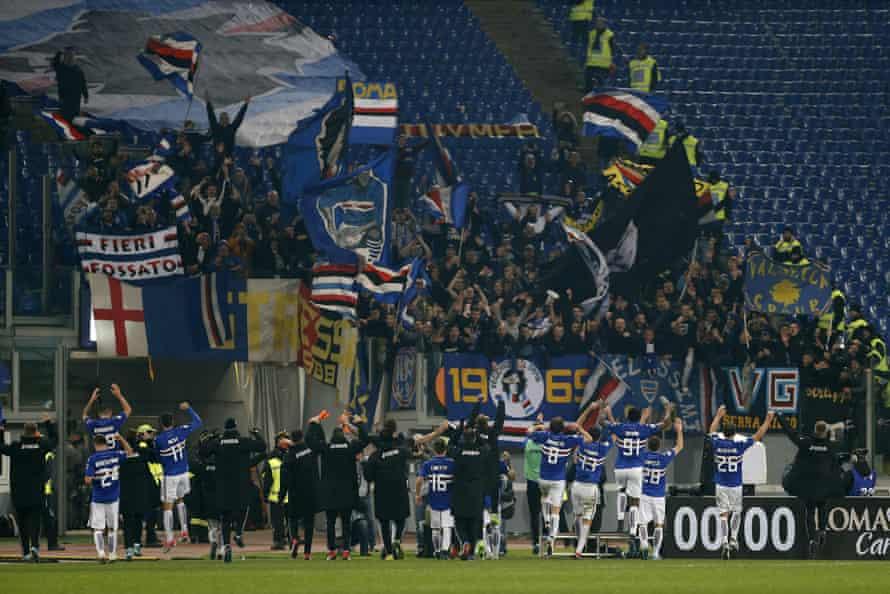 Jubilant Sampdoria players at the Stadio Olimpico.