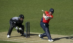 England captain Eoin Morgan hits out during his side's defeat by New Zealand in Wellington.