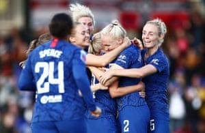 Maria Thorisdottir of Chelsea celebrates scoring her sides second goal.