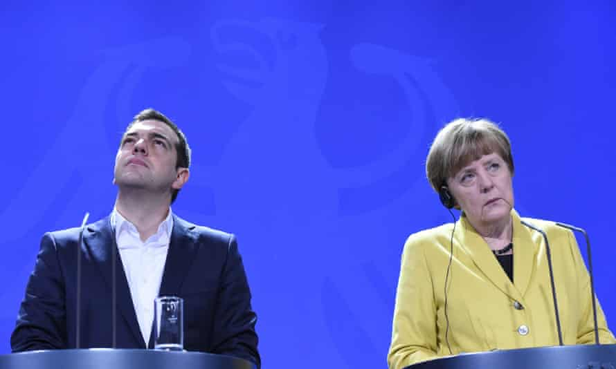 The Greek prime minister Alexis Tsipras with the German chancellor, Angela Merkel.