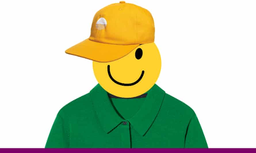 Smiley face dressed in bright clothes