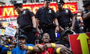 September 2014: protesters demanding higher wages and unionization for fast food workers block traffic in New York City.