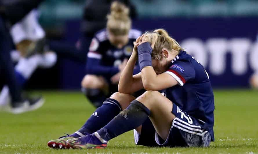 Erin Cuthbert reacts to Finland's late winner at Easter Road