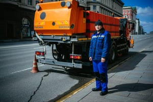 Moscow, Russia: Alexander Germanovich,  municipal cleaning truck driver