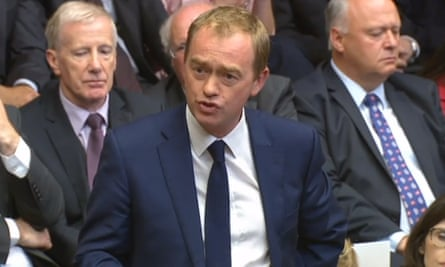 Tim Farron speaking in the House of Commons during its first sitting since the election.