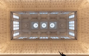 The newly refurbished Grade 1 listed ceiling in the main gallery at the Fitzwilliam Museum, Cambridge