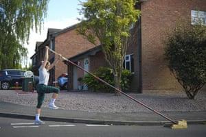 Holly Bradshaw training at home.