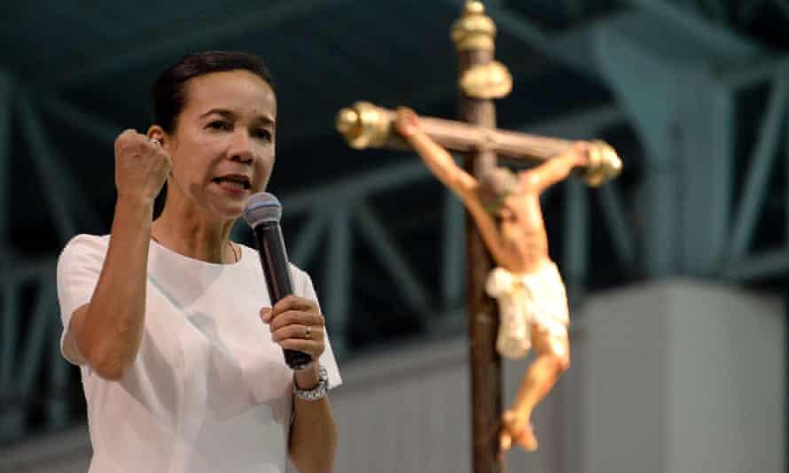 Philippine Presidential candidate Senator Grace Poe speaks during the Pro-Catholic Born again religious group El Shaddai prayer vigil in Manila.