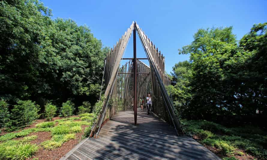 Soon to be engulfed with glowers … Norman Foster's timber trellis chapel.