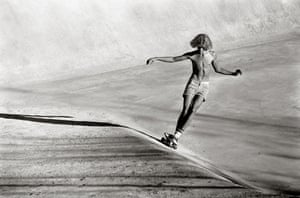 Jeff Jones rides the concrete swell at the Viper Bowl in Hollywood, 1976