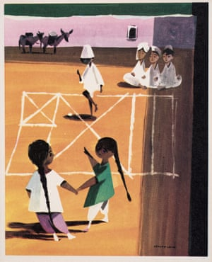 Hopscotch in Pakistan, a greeting card designed for Unicef, 1954 by George Him.