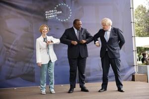 Boris Johnson with Kenya's president, Uhuru Kenyatta, and the former Australian PM Julia Gillard at the Global Education Summit in London today.