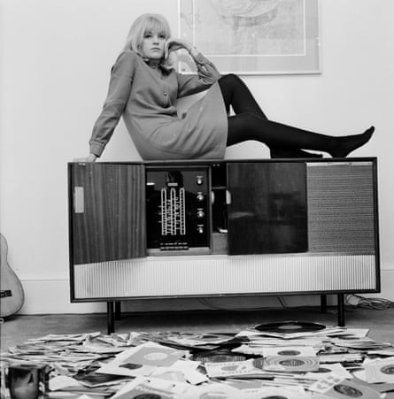 Anne Nightingale, 'reclining on her stereogram' at home in Brighton, promoting the show That's for Me, her first TV job, 1964.