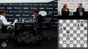 Magnus Carlsen and Fabiano Caruana play to quiet Game 11