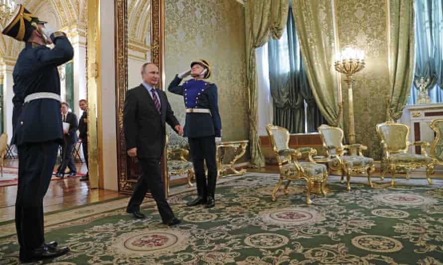 Russian president Vladimir Putin inside the Kremlin.