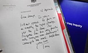 A declassified handwritten letter from Blair to Bush.