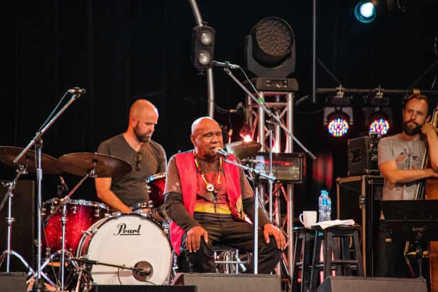 Archie Roach performs at the Woodford folk festival.