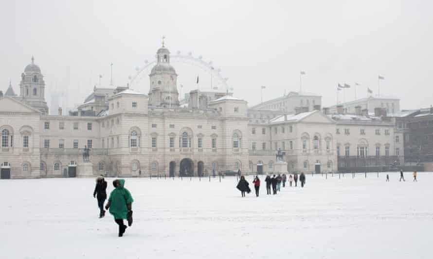 Snow at Horse Guards Parade following the arrival of freezing weather conditions dubbed the 'Beast from the East' in 2018.