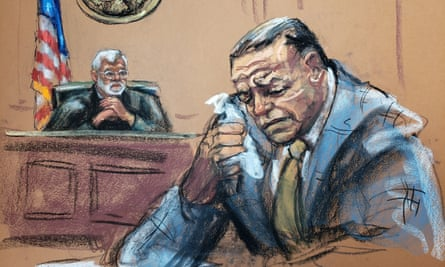 Courtroom sketch of Cesar Sayoc as he weeps during sentencing at the federal court in Manhattan on Monday.