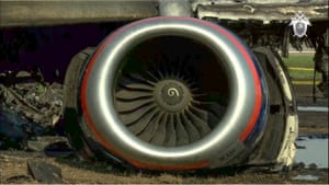 One of the plane's engines.