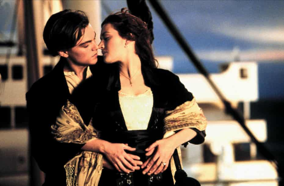 Winslet and DiCaprio in Titanic