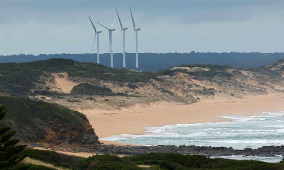 Wonthaggi windfarm in Victoria. Tony Abbott claims Labor's 50% renewables goal would 'cause a massive overbuild of wind farms'.