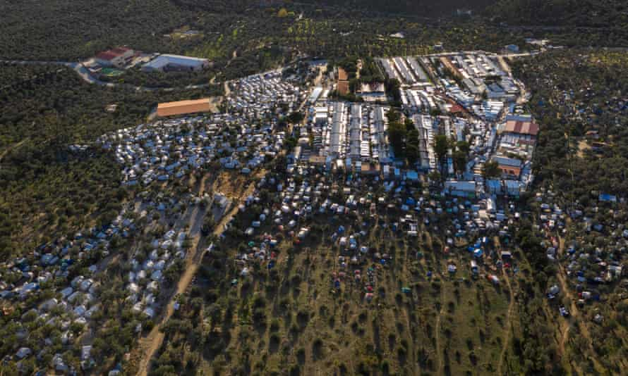 An aerial view of the official refugee camp of Moria and the makeshift camp that has grown around it on the island of Lesbos.