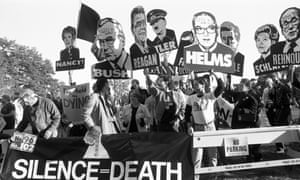 Act Up campaigners at the Seize Control of the FDA protest outside the Food and Drug Administration headquarters in Rockville, Maryland, 11 October 1988.