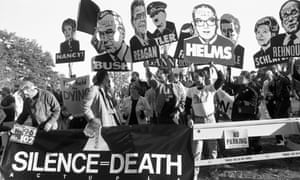 Act Up protest outside the Food and Drug Administration headquarters in Rockville, Maryland in 1988.