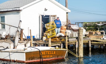 A waterman is seen at a boat shack in Tangier in Virginia.