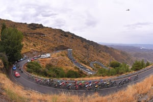 The riders on an ascent during the 187km Stage 11, between Lorca and Observatorio Astronómico de Calar Alto