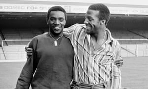 West Bromwich Albion team-mates Laurie Cunningham, left, and Cyrille Regis at The Hawthorns in 1977. Both went on to play for England.
