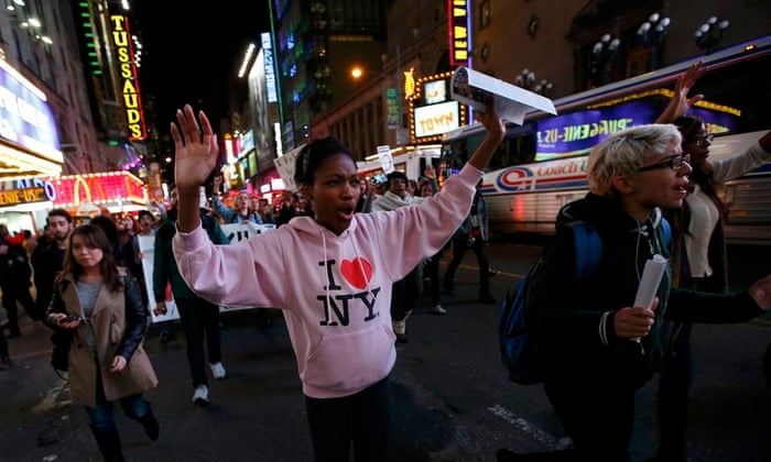 People protest in Times Square, New York