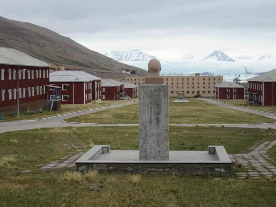 A bust of Lenin gazes over Pyramiden, the 'frigid modern Pompeii' that was once a thriving Soviet outpost.