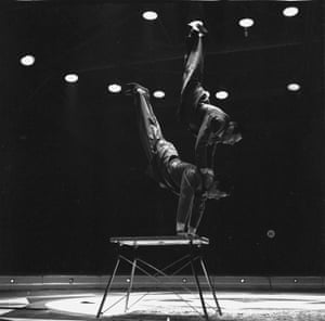 Swedish circus acrobats Sven-Eric Westlund and Karl-Eric Hellberg performing in Britain at the Belle Vue Circus, February 1956.