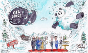 Cartoon of a bartrel of oil and a panda tumbling down snowy slopes towards delegates below