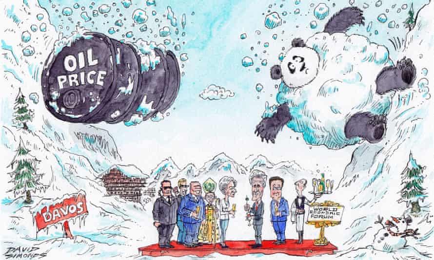 Cartoon of a bartrel of oil and a panda tumbling down snowy slopes towards delegates below