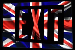The union jack with ana exit sign superimposed on it