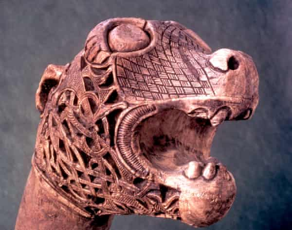 Carved animal head found in funerary treasure, Oseberg, Norway.